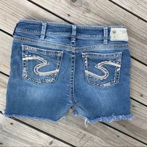 Silver Suki Jeans Shorts Cuffoffs Fringed 32